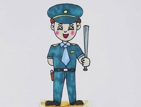 保安简笔画彩色,保安怎么画简单又真实