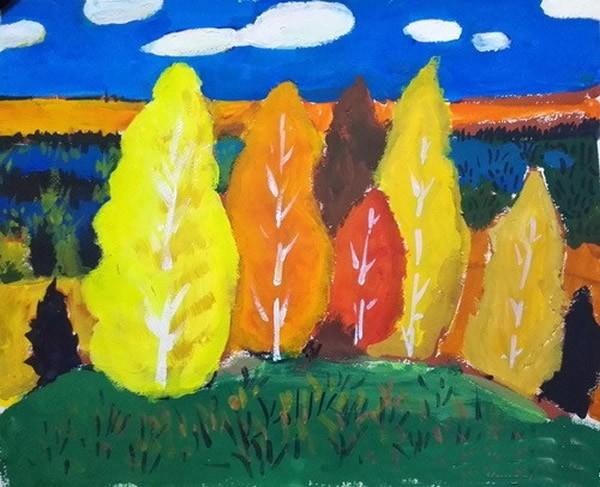 一年级儿童画秋天的树木景色作品_彩色的秋天