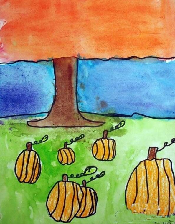 秋天的景色图画儿童画_秋天的颜色/蜡笔画图片