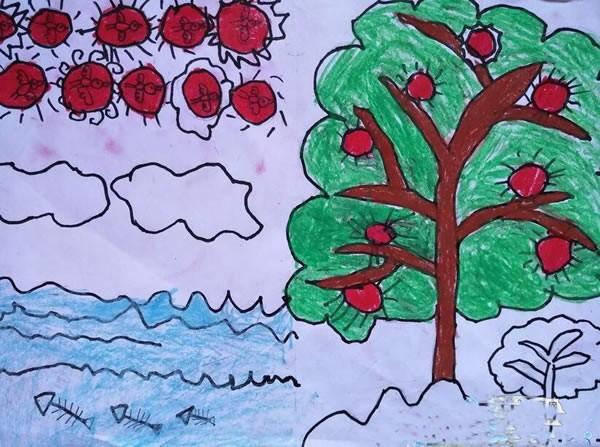 【儿童画秋天的苹果树】简单的苹果树怎么画/蜡笔画图片
