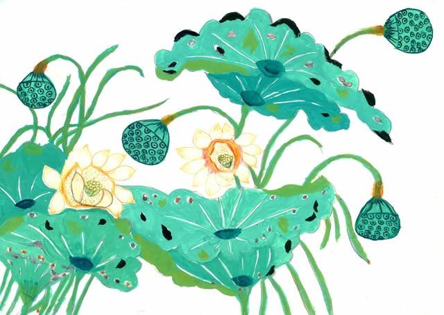 夏天荷叶荷花池塘儿童画作品图片