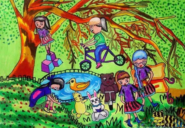 创意绿色家园儿童画绘画作品 画一幅绿色家园的画