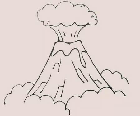 火山喷发怎么画简笔画简单又漂亮