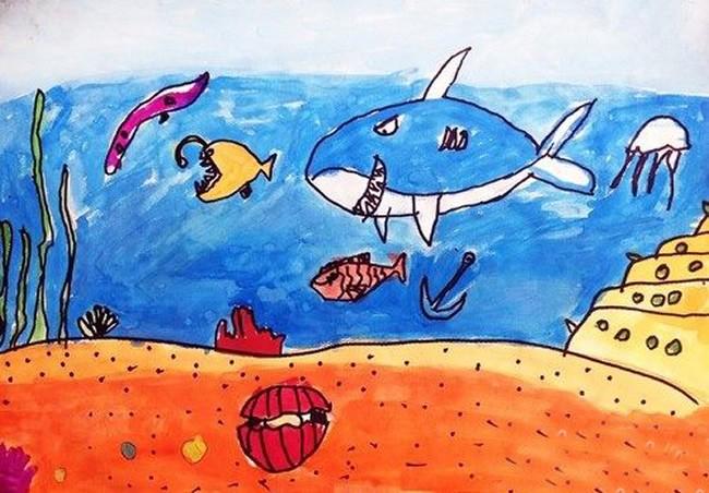 海底世界水彩画简单又好看作品欣赏