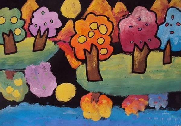 秋天丰收的果园风景儿童画_儿童画秋天景色绘画教学