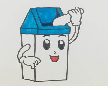 卡通垃圾桶简笔画彩色-卡通垃圾桶怎么画可爱漂亮