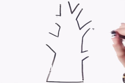 植树节大树简笔画画法步骤图片