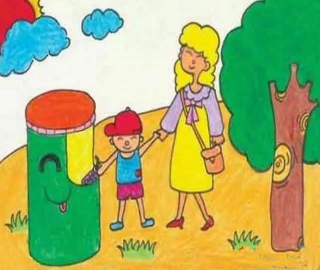 简单环保绿色家园儿童画优秀作品