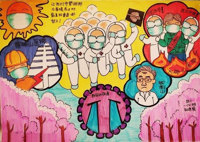 抗击新型冠状病毒儿童画作品图片
