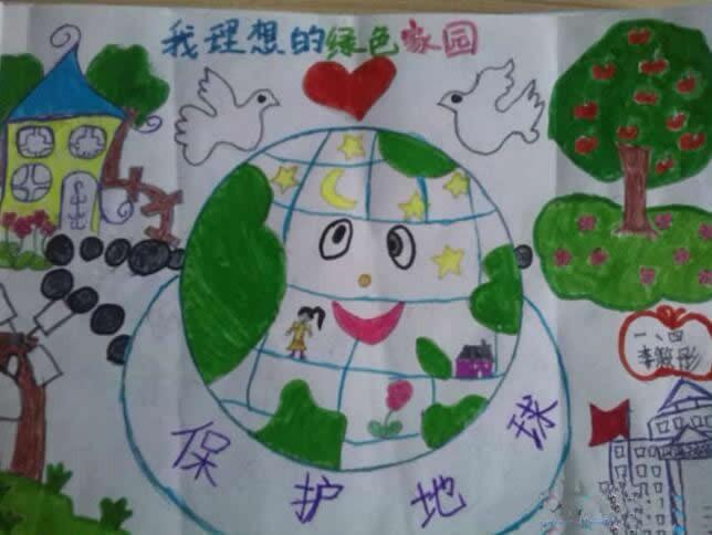 我理想的绿色家园儿童画一年级作品