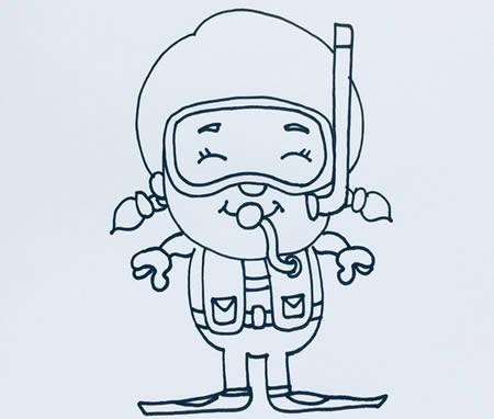 潜水员简笔画彩色,潜水员怎么画简单又可爱