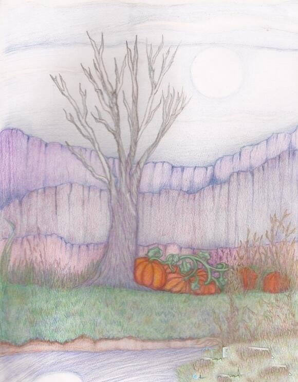 不一样的秋天景色图儿童画_画一幅秋天的画/彩铅画图片