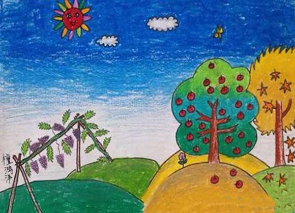 简单又漂亮秋天儿童画:秋天丰收硕果累累的儿童画