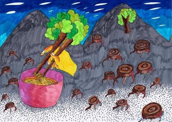 环境保护节约资源主题创意儿童画图片