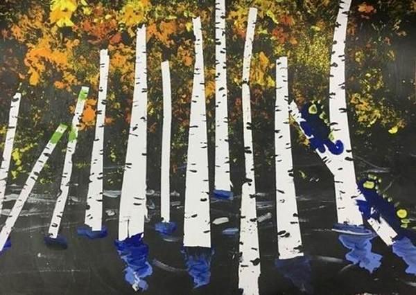 幼儿大班水粉画秋天的白桦林_关于秋天的风景画图片