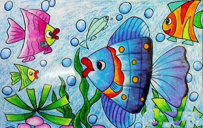 美丽的海底世界优秀儿童水彩画作品欣赏