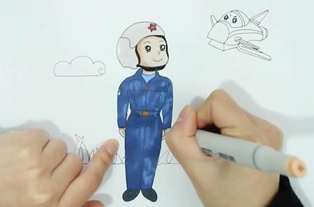 空军叔叔简笔画,空军的简笔画怎么画