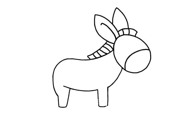 卡通小毛驴简笔画步骤图片