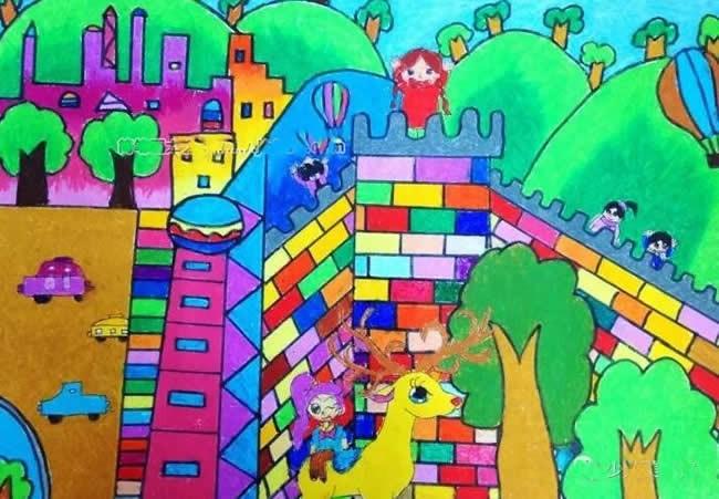 我心目中的绿色家园儿童画 - 森林城堡