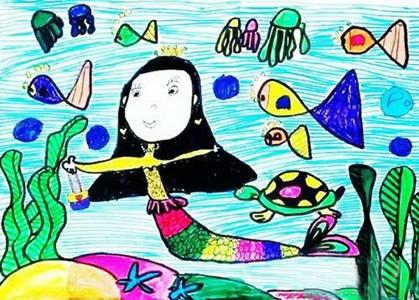 海底世界的美人鱼儿童画