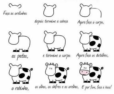 一步一步教你画奶牛简笔画图片大全可爱