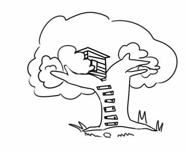 漂亮的树屋简笔画画法步骤图片