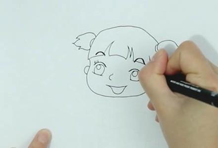 奔跑的小女孩简笔画漂亮可爱小学生