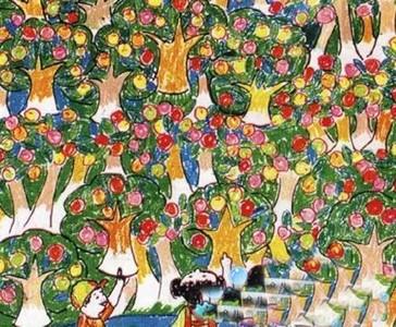 幼儿绘画丰收的果园作品