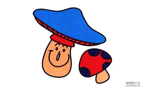 彩色小蘑菇简笔画