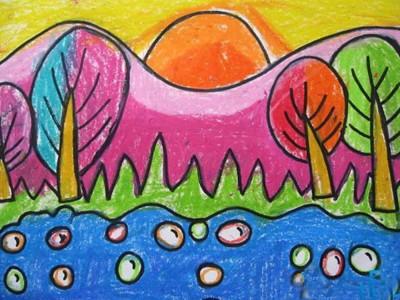 简单的日出儿童画油画棒画作品