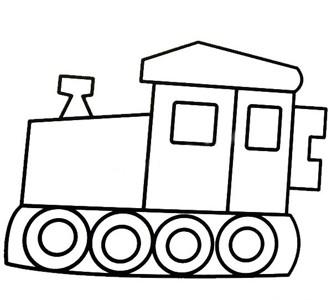 压路机简笔画 四轮压路机简笔画涂色图片