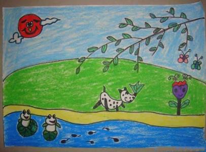 春天的景色儿童画简单
