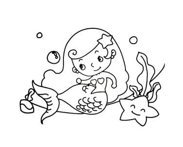 卡通美人鱼简笔画7