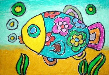 漂亮的小花鱼儿童画