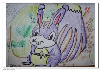 蜡笔画-调皮的松鼠