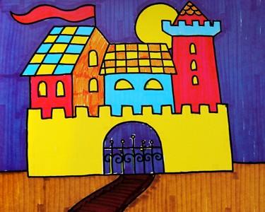 水彩画-美丽的童话城堡