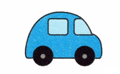 蓝色小汽车简笔画_简单小汽车简笔画的画法步骤教程