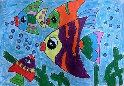一群多彩的热带鱼儿童画