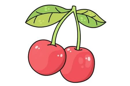 水果樱桃简笔画彩色画法步骤图片