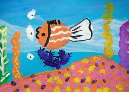 幼儿园儿童画海底世界作品