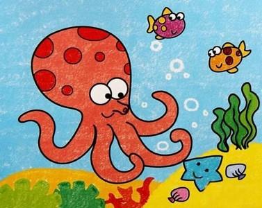 海底世界章鱼儿童画