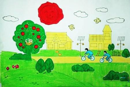 低碳生活绿色家园主题儿童画