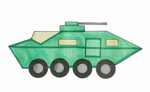 突击车简笔画图片 装甲侦查车简笔画步骤教程