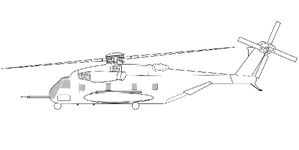 学画军用直升机