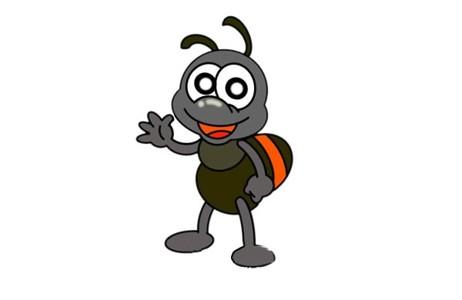 挥手的卡通蚂蚁简笔画画法步骤图片