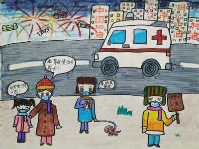 抗击疫情儿童画简单