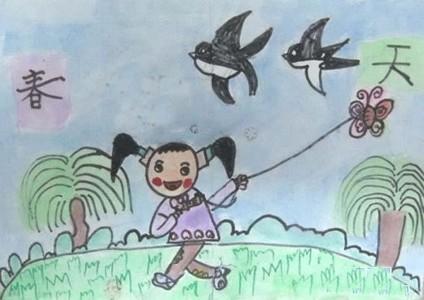 儿童画春天放风筝的图画