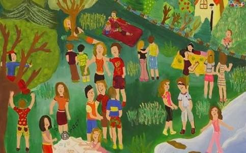 春天里的郊游儿童画