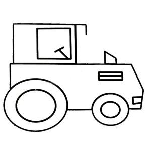压路机简笔画 空白和涂色的压路机简笔画图片大全