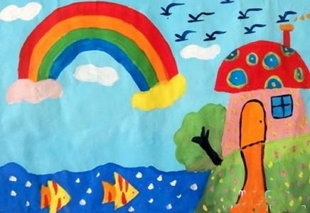 大海彩虹图画儿童画